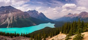 Panorama of Peyto Lake, Banff National Park, Alberta, Canada
