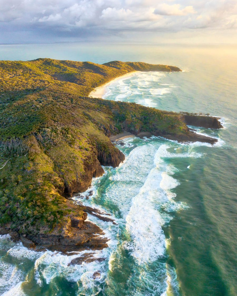 aerial view sunshine beach sunrise noosa national park noosa heads sunshine coast queensland australia