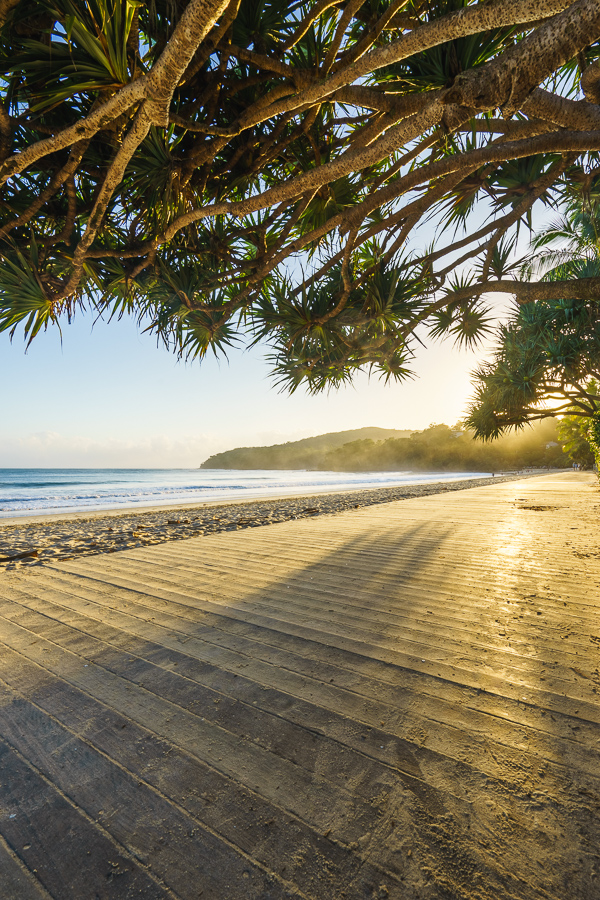 sunrise main beach boardwalk Noosa Heads, Noosa National Park, Sunshine Coast, Queensland, Australia