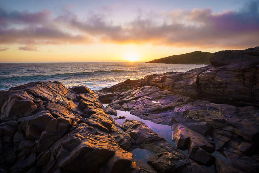 Sunrise over Dolphin Point, Noosa National Park, Sunshine Coast, Queensland, Australia