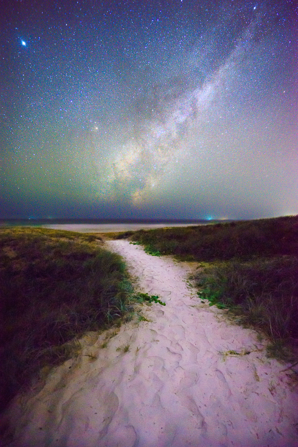 Milky Way over sand dunes at Sunshine Beach, Noosa Heads, Sunshine Coast, Queensland, Australia