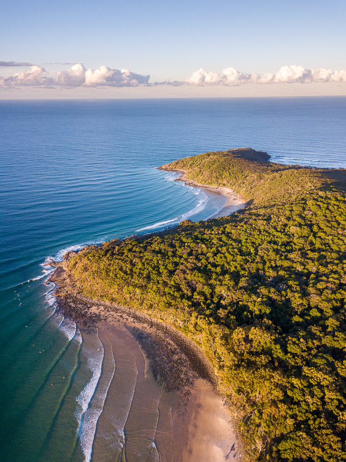 how to take sharper photos aerial photo of Tea Tree Bay and Granite Bay at sunset, Noosa National Park, Noosa Heads, Sunshine Coast, Queensland, Australia