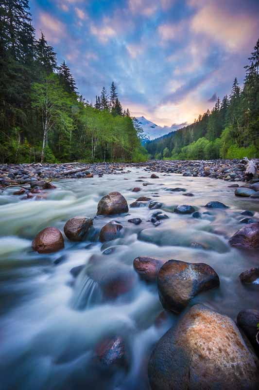 Sunset over a river and Mt Baker, Mount Baker-Snoqualmie National Forest, Washington State, USA