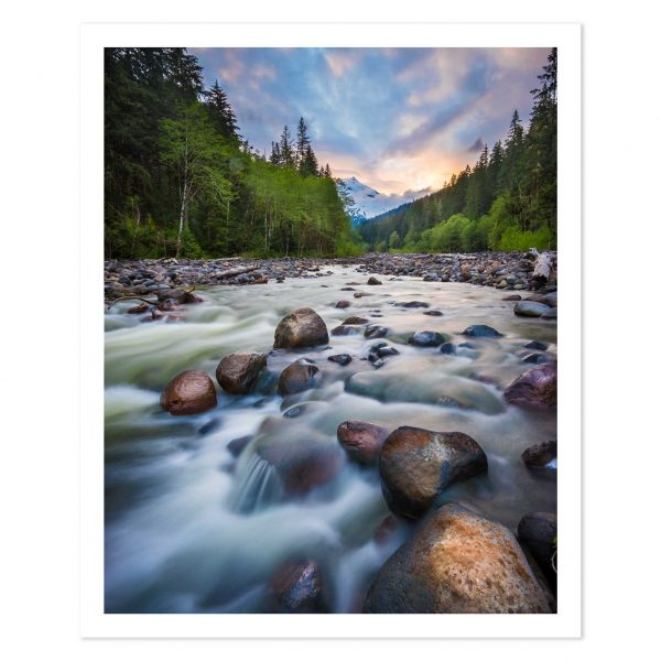 Photo print of a river in Mt Baker, Mount Baker-Snoqualmie National Forest, Washington State, USA