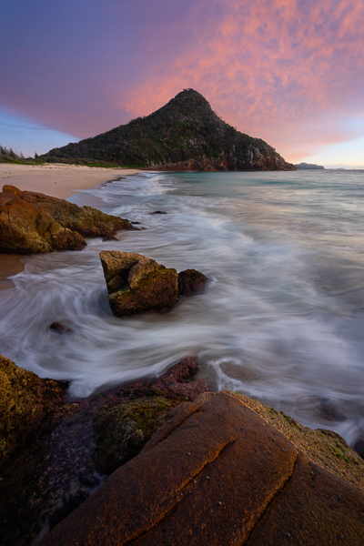 Tomaree Mountain sunrise from Zenith Beach, Port Stephens, NSW New South Wales, East Coast Australia Road Trip