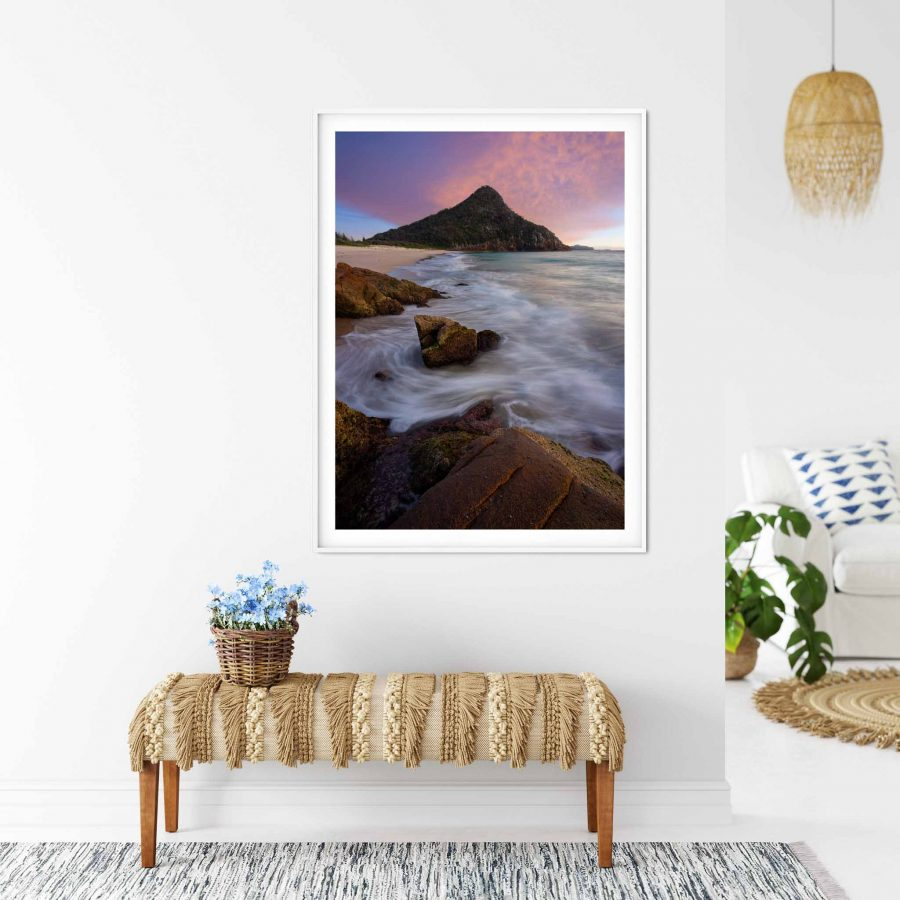 Photo print of Tomaree Mountain from Zenith Beach at sunrise, Port Stephens, NSW, Australia.