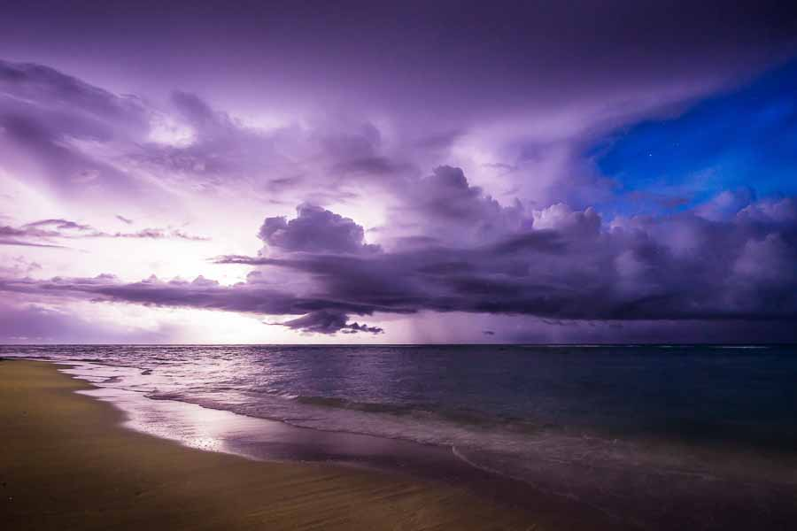 A lightning storm at night off Varadero Beach, Cuba, Caribbean