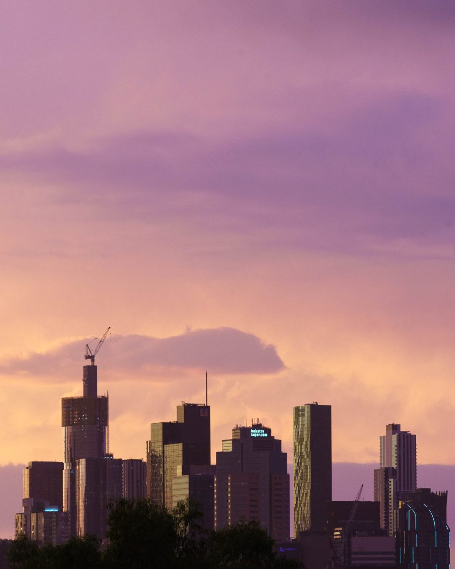 Cityscape photo at sunset of the skyline in Melbourne, VIC, Australia.
