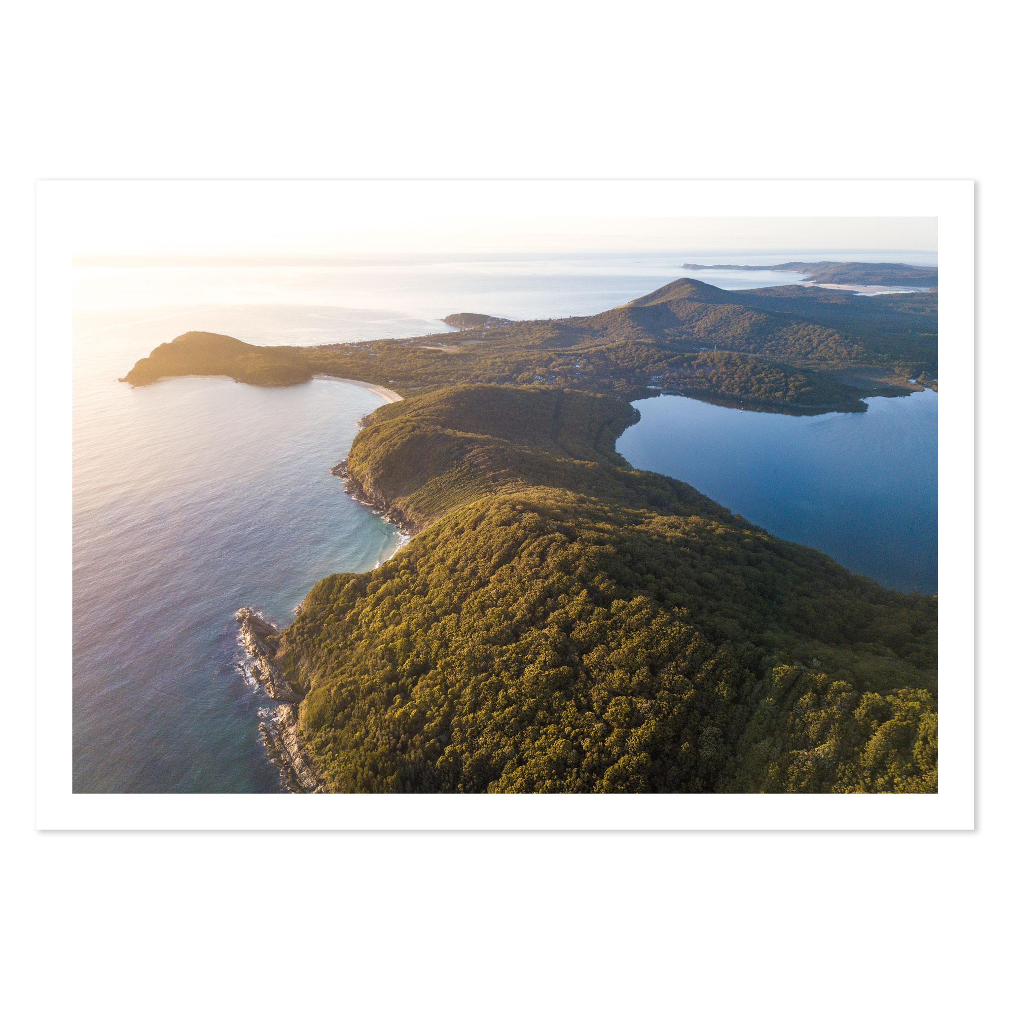aerial print of sunrise over Boomerang Beach, Booti Booti National Park, NSW, Australia
