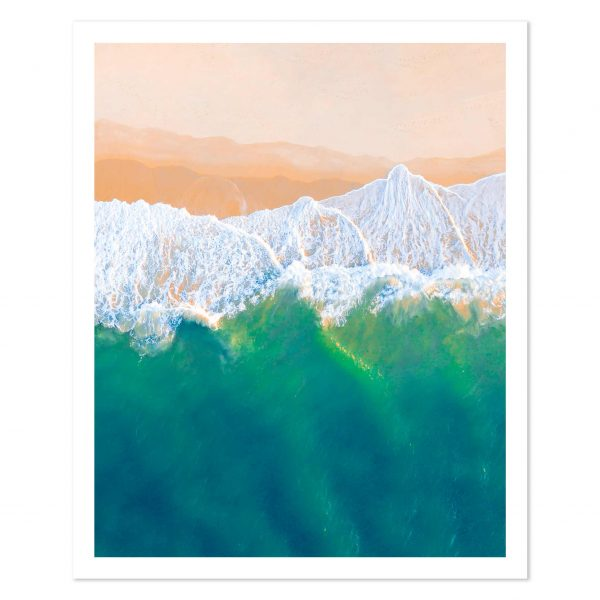 Aerial photo print of waves breaking on the beach on Fraser Island, QLD, Australia