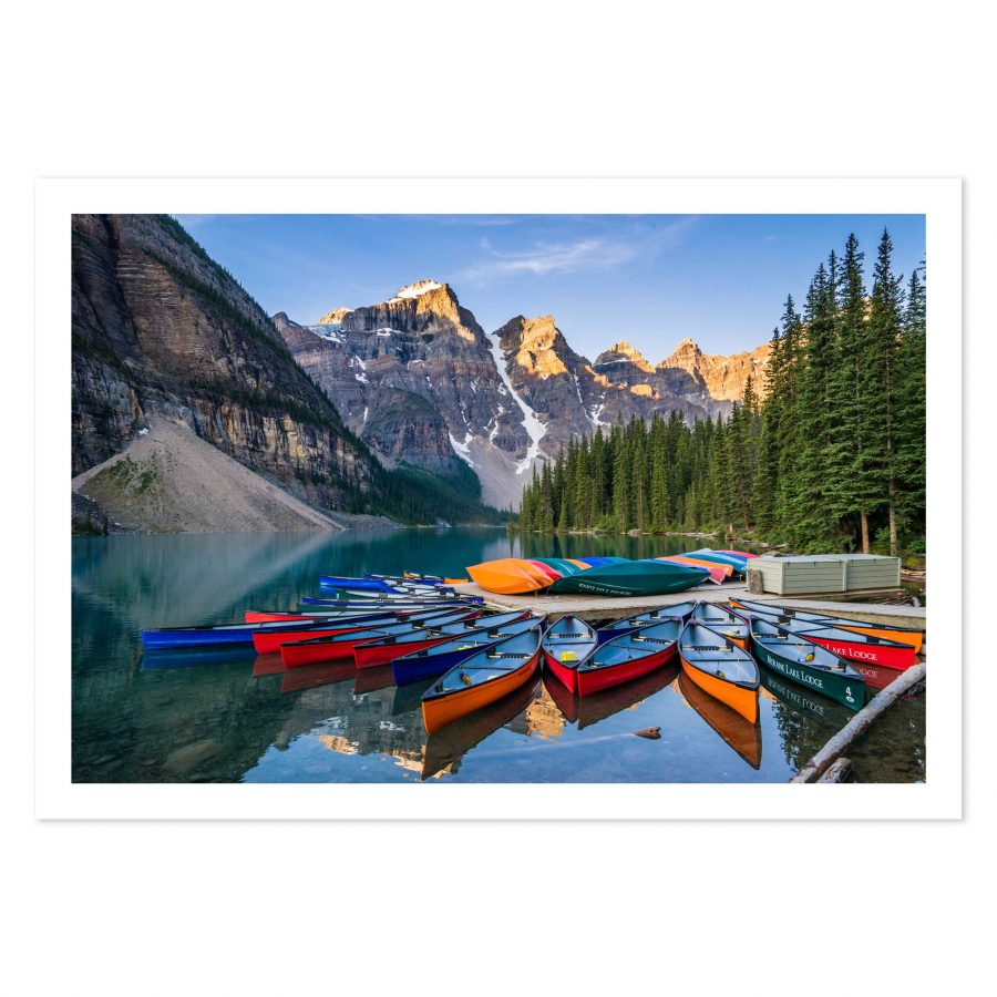 photo print of Canoes on Moraine Lake, Banff National Park, Alberta, Canada