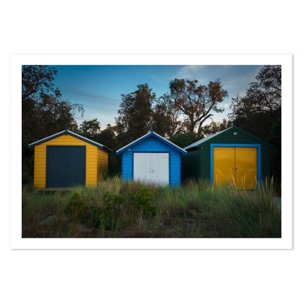 Art print of Boathouses on Rosebud Beach, Mornington Peninsula, Victoria, Australia
