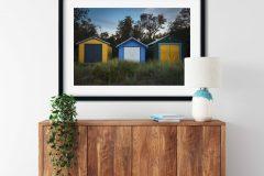 Art print of Boathouses on Rosebud Beach, Mornington Peninsula, Victoria, Australia