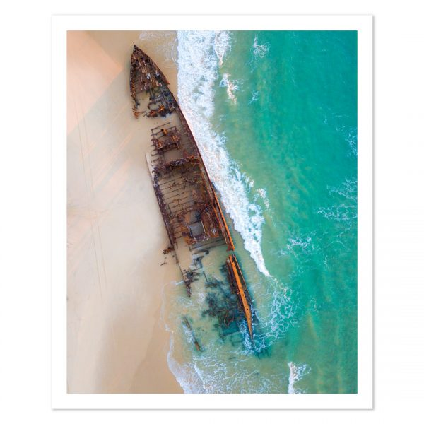 Photo print of the SS Maheno Shipwreck on the beach of Fraser Island, QLD, Australia