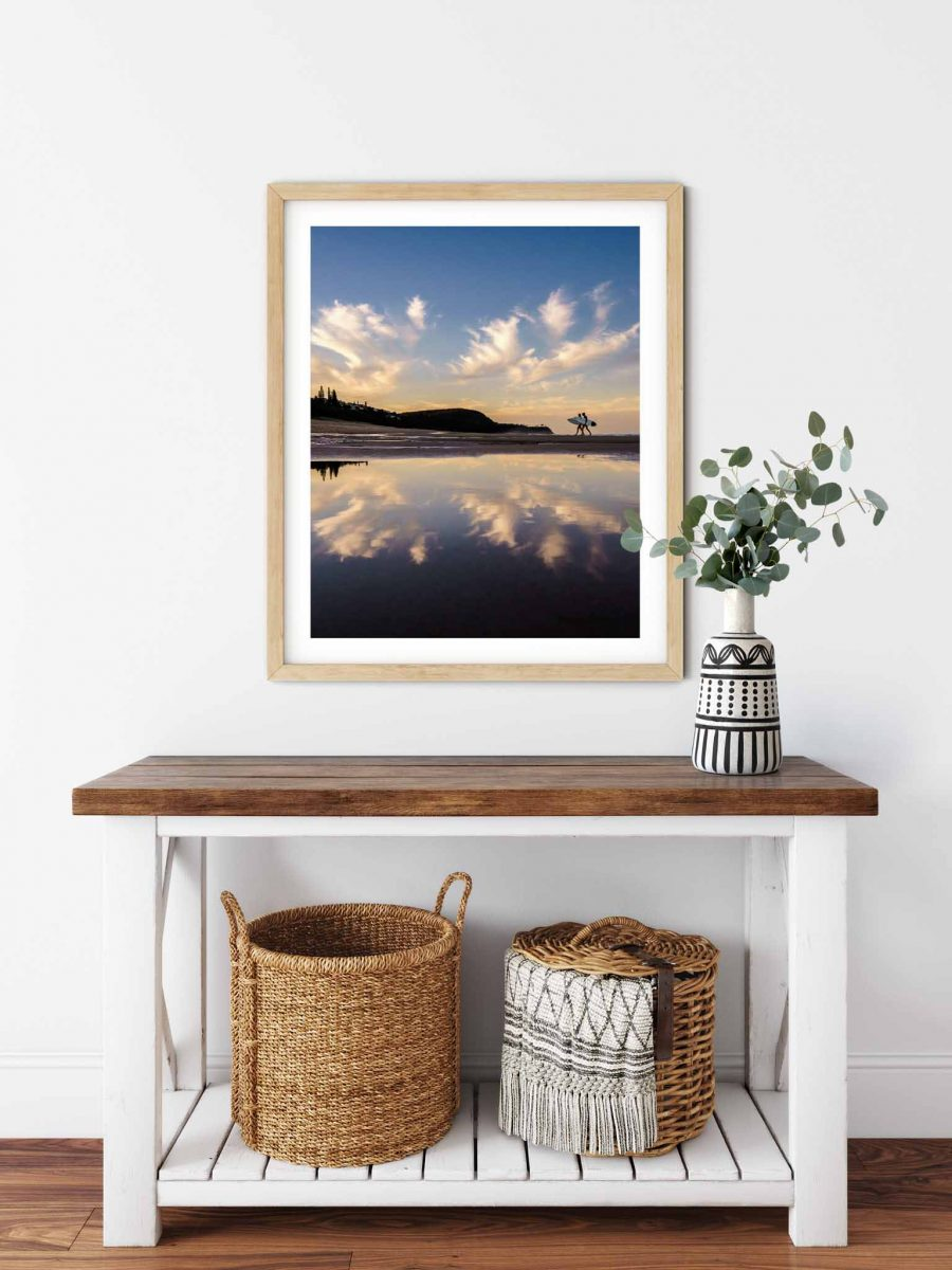 Photo print of Surfers on Sunshine Beach at sunset, Noosa Heads, Sunshine Coast, Queensland, Australia.