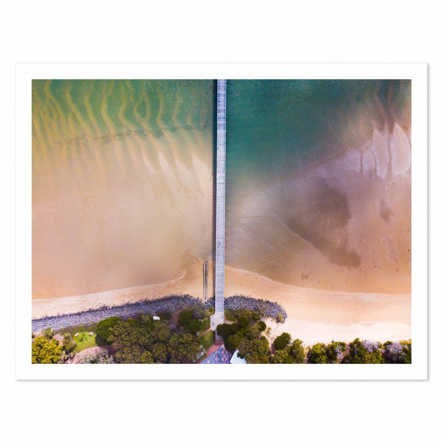Aerial photo print of sunrise at Urangan Pier, Hervey Bay, Fraser Coast, Queensland, Australia