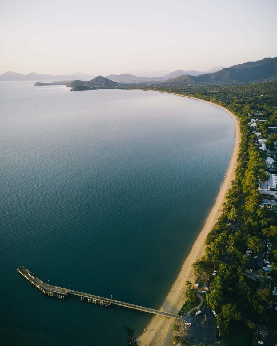 Aerial photo of the jetty and beach at Palm Cove, Tropical North QLD, Australia