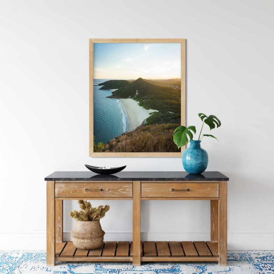 Art print of sunset over Zenith Beach from Mt Tomaree, Port Stephens, New South Wales, NSW, Australia