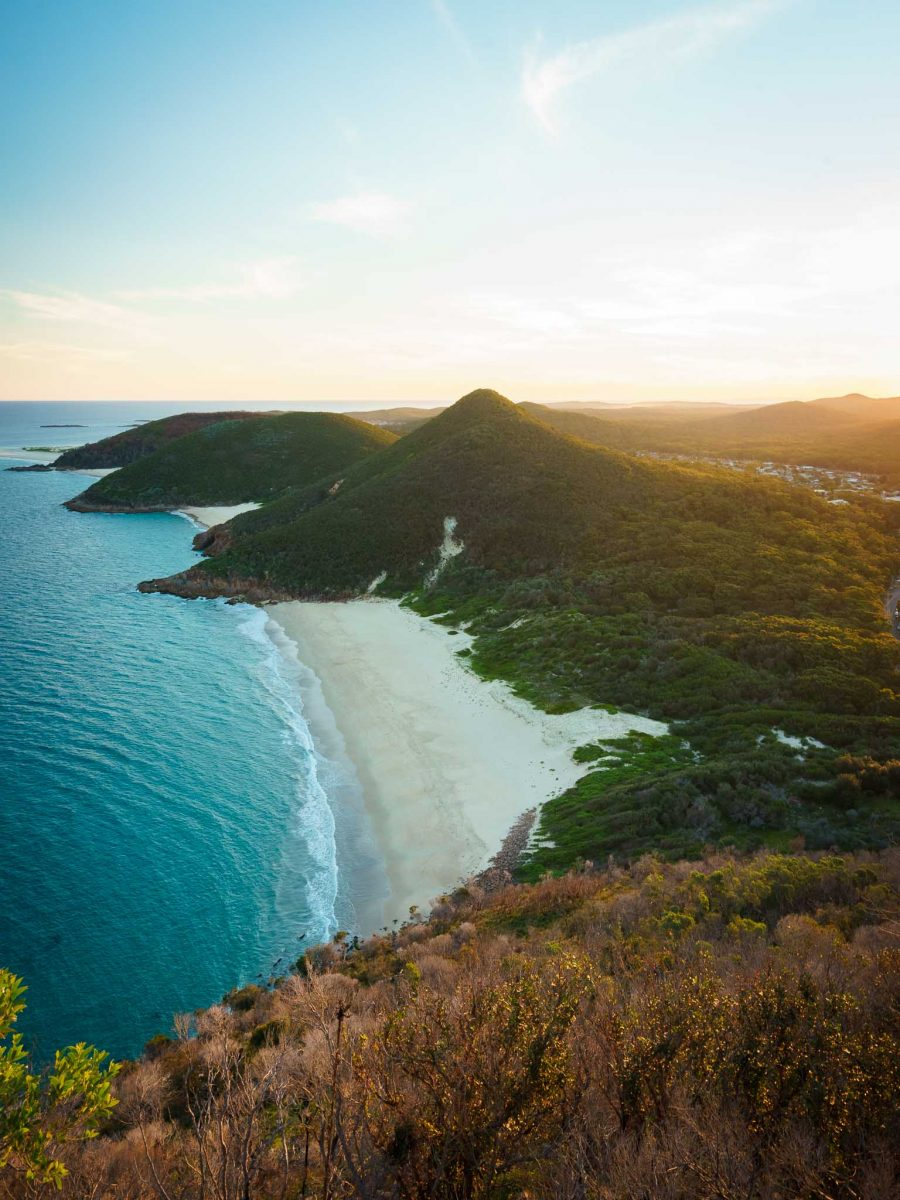 Sunset over Zenith Beach from Mt Tomaree, Port Stephens, New South Wales, NSW, Australia
