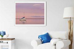 Art print of a boat at sunset in Motueka, Tasman Bay, South Island, New Zealand NZ